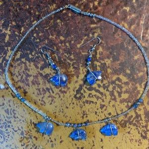 Blue bear necklace and matching earrings